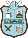 Logo with shield, helmet, pens, paper, computer and cup of coffee.