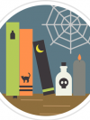 Halloween books with a soider web